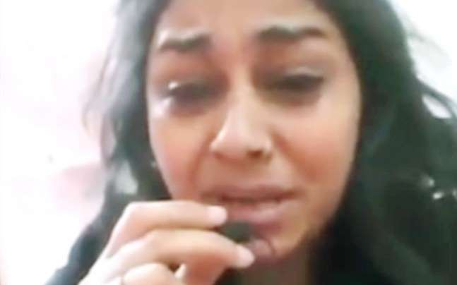 Video grab of Punjabi woman narrating her woes on social media.