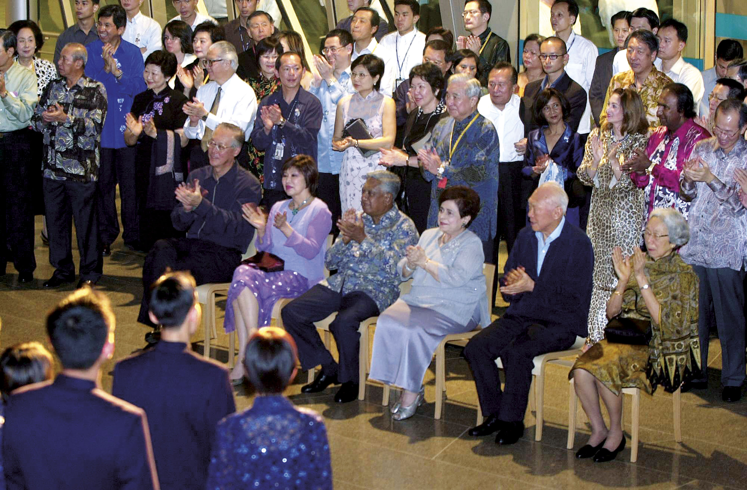 VIPs at Esplanade's opening event (seated, left to right - then Singapore Prime Minister Goh Chok Tong and Mrs Goh, then President SR Nathan and Mrs Nathan, and then Senior Minister Lee Kuan Yew and Mrs Lee.
