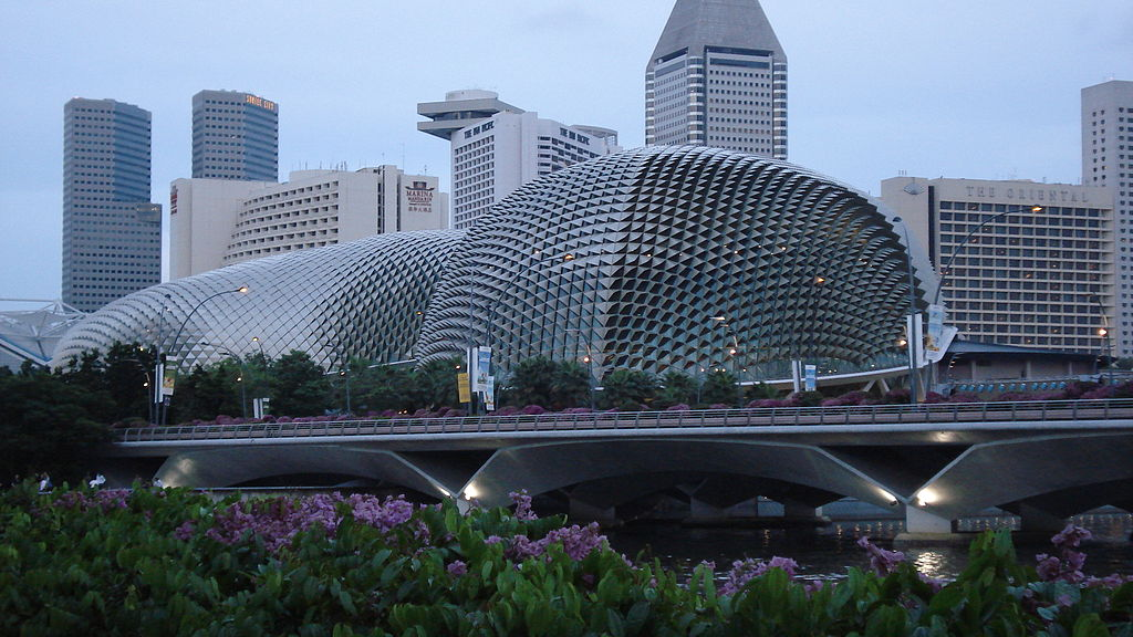 The durian-shaped Esplanade stands out in front of the Marina Square area