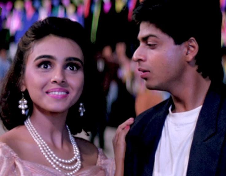 Suchitra Krishnamoorthi with Shah Rukh Khan in a still from the film 'Kabhi Haan Kabhi Na'.