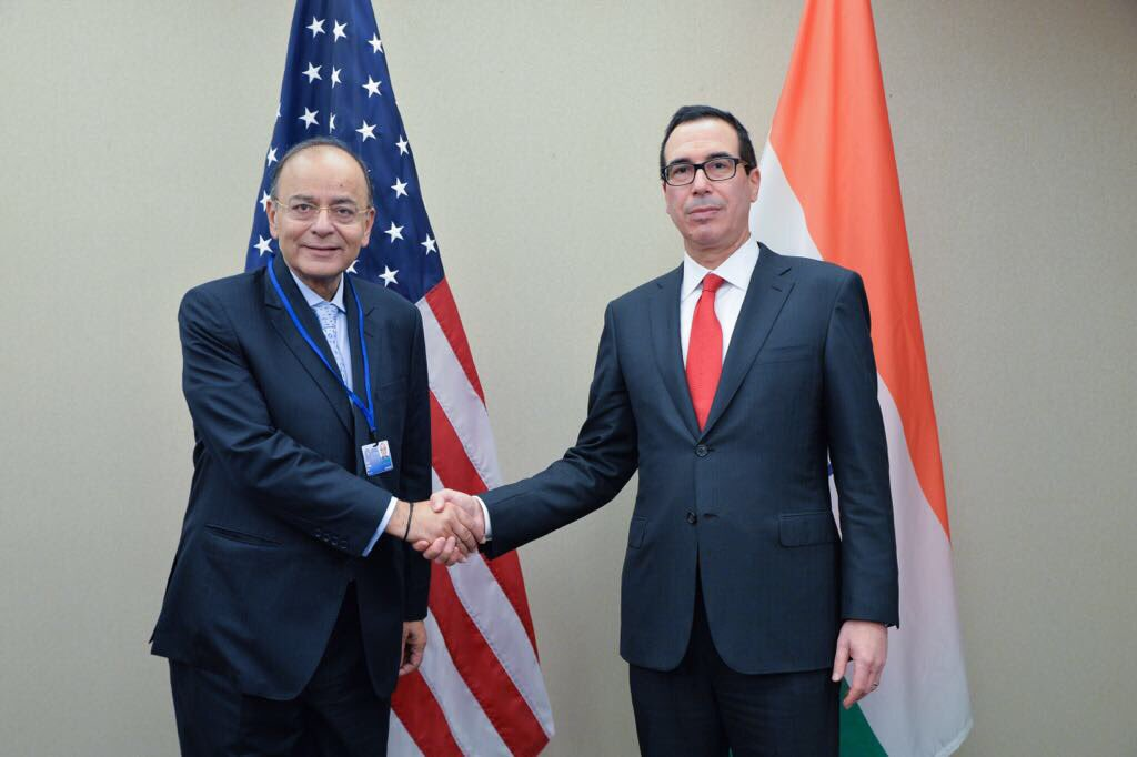 FM Jaitley (left) with US Tresury Secretary Steve Mnuchin.