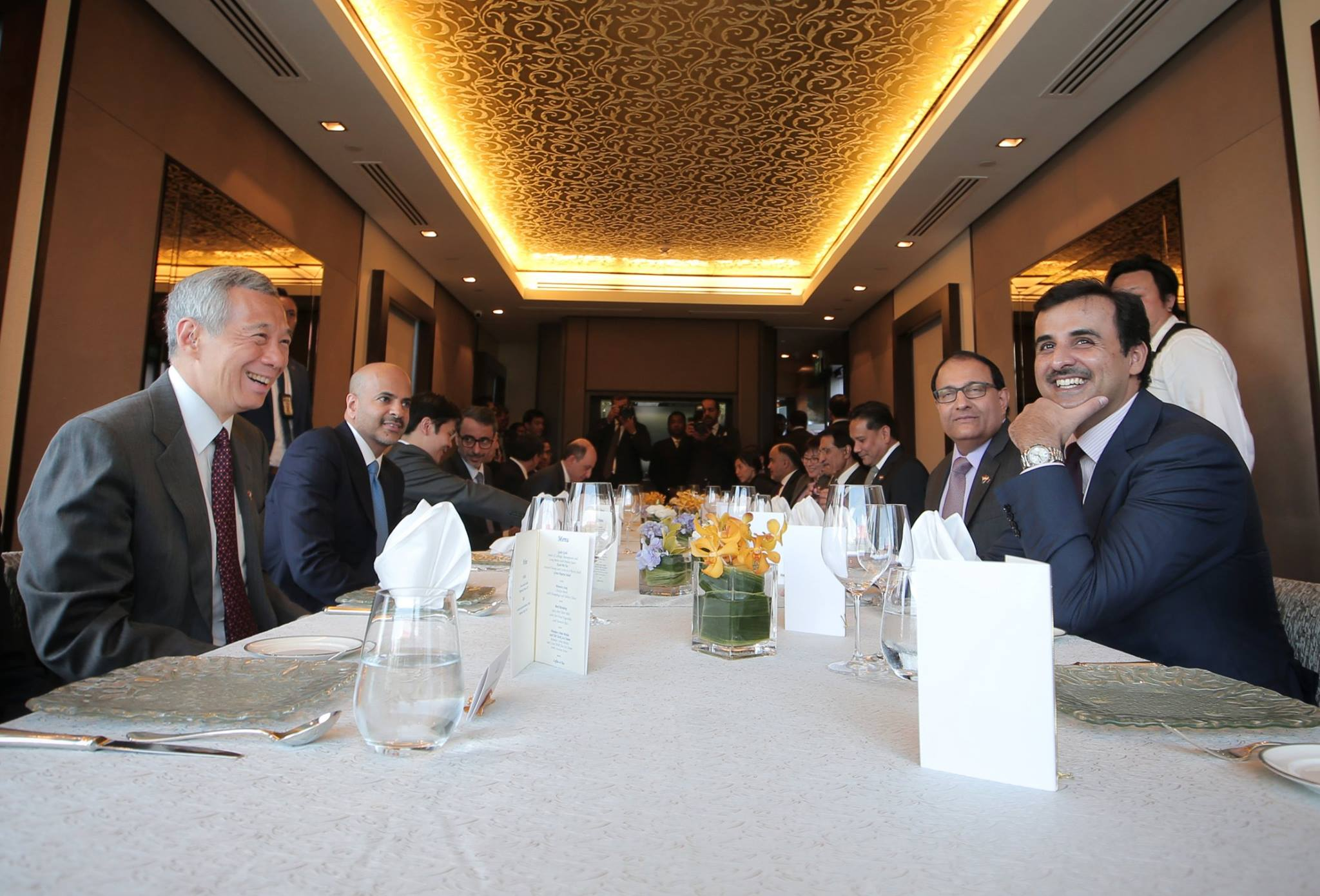 Prime Minister of Singapore Lee Hsien Loong meeting Emir of Qatar Sheikh Tamim bin Hamad Al Thani during lunch.