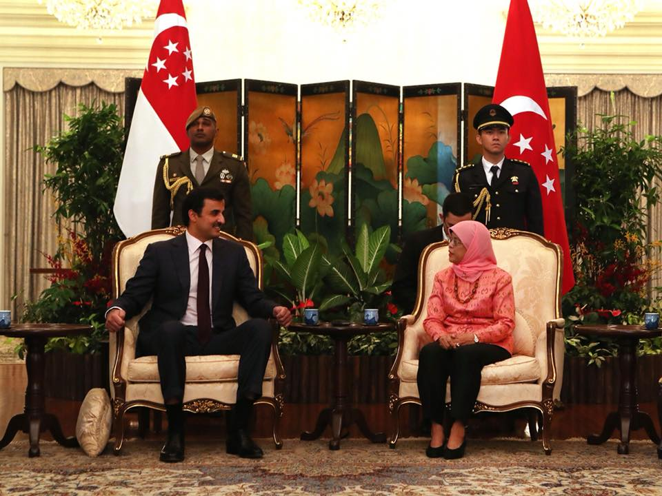 Emir of Qatar being welcomed by the President of Singapore Halimah Yacob at Istana.