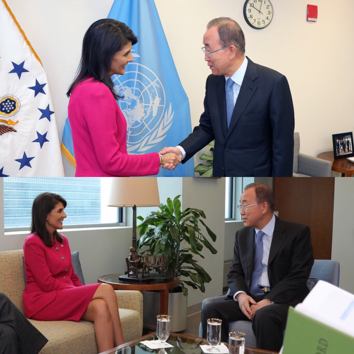 US Envoy to the UN Nikki Haley (left) meeting former UN Secretary-General Ban Ki-Moon.