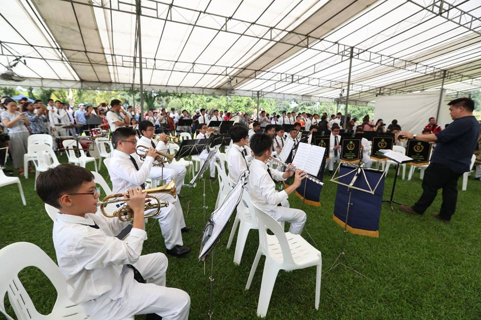 Students of St Patrick's School Band giving their performance at Istana.