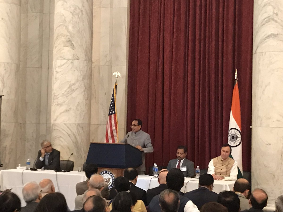 Madhya Pradesh Chief Minister Shivraj Singh Chouhan while addressing the Indian diaspora in US.