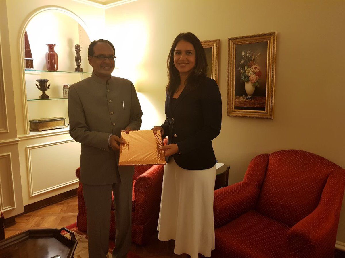 Shivraj Singh Chouhan with US lawmaker Tulsi Gabbard.