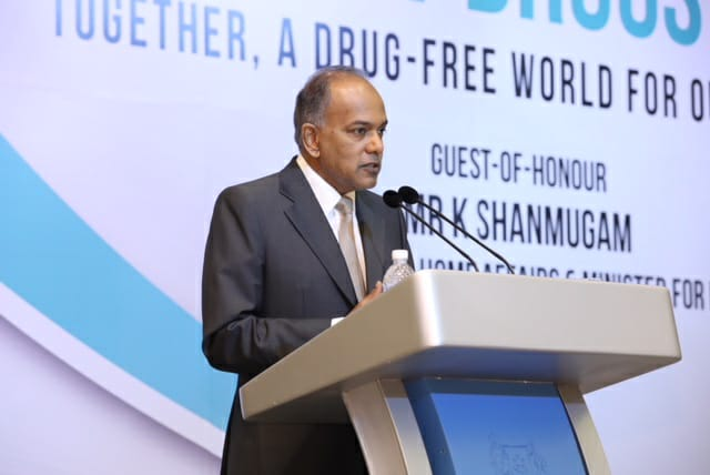 Singapore Home Affairs and Law Minister K Shanmugam speaking at the opening of the second Asia-Pacific Forum Against Drugs at the ParkRoyal Hotel in Beach Road today,