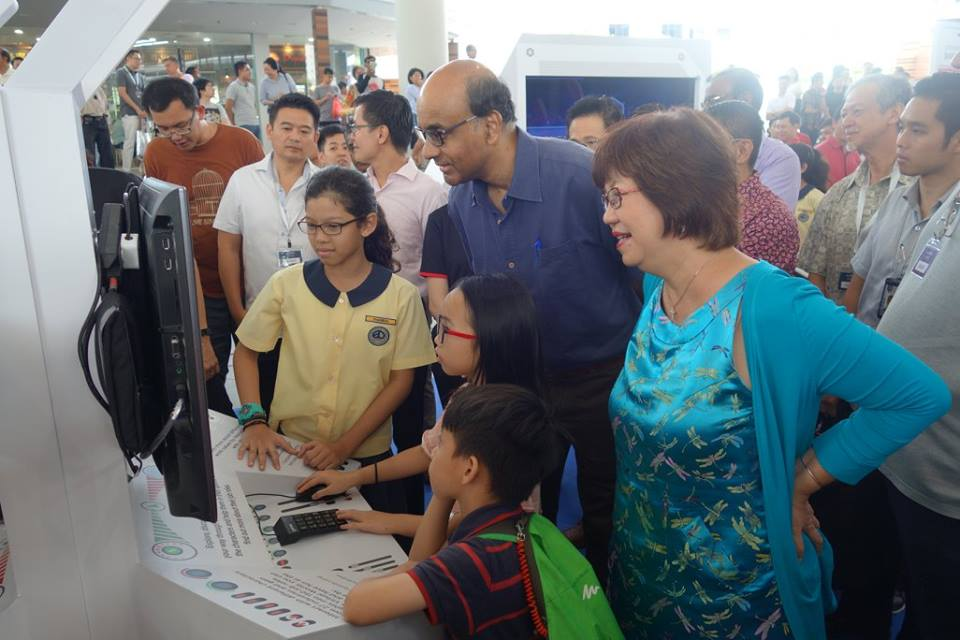 Deputy Prime Minister of Singapore Tharman Shanmugaratnam along with children during the launch of SkillsFuture portal.