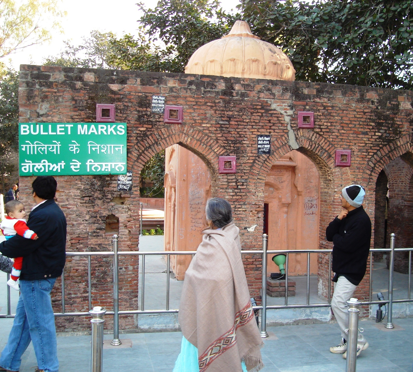 Bullet marks preserved at the site of the Jallianwalla Bagh Massacre.