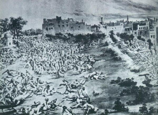 An artist's depiction of the massacre.