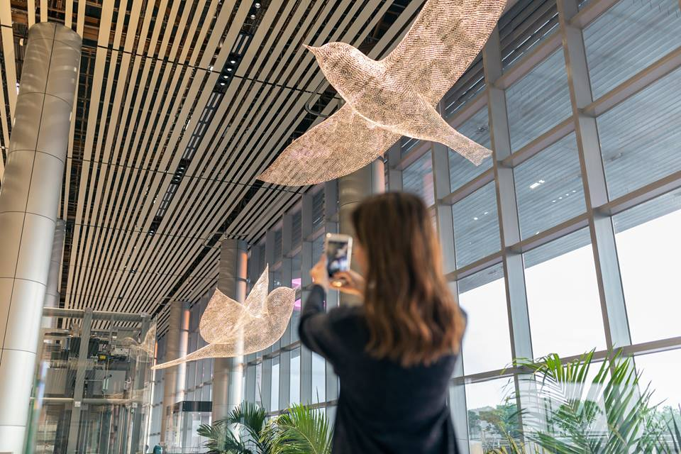 Les Oiseaux are metaphorical representation of human feelings inside Terminal 4.