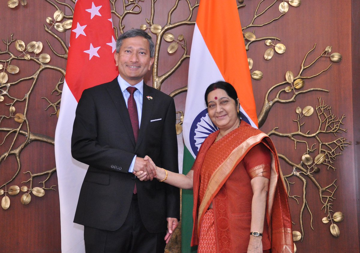 Singapore's Minister for Foreign Affairs Dr Vivian Balakrishnan being welcomed by Indian External Affairs Minister(EAM) Sushma Swaraj at New Delhi.