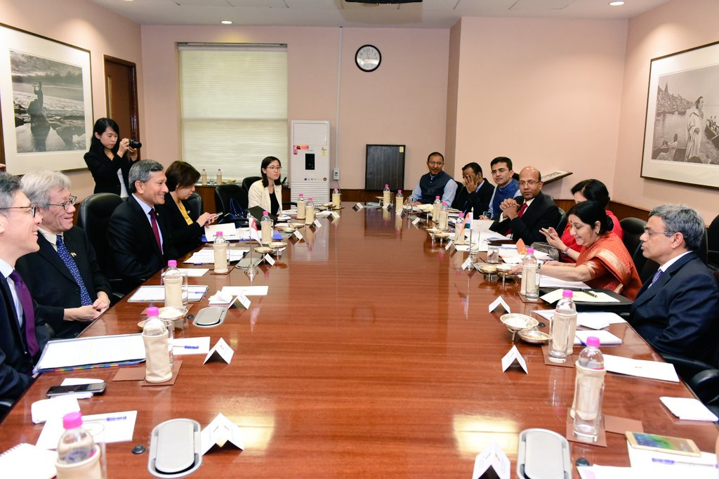 Delegations led by Singapore's Minister for Foreign Affairs Dr Vivian Balakrishnan and Indian External Affairs Minister (EAM) Sushma Swaraj attend 5th Joint Ministerial Committee Meeting organised at New Delhi.