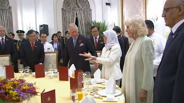 President of Singapore Halimah Yacob hosting official dinner in honour of Britain's Prince Charles and his wife Camilla.