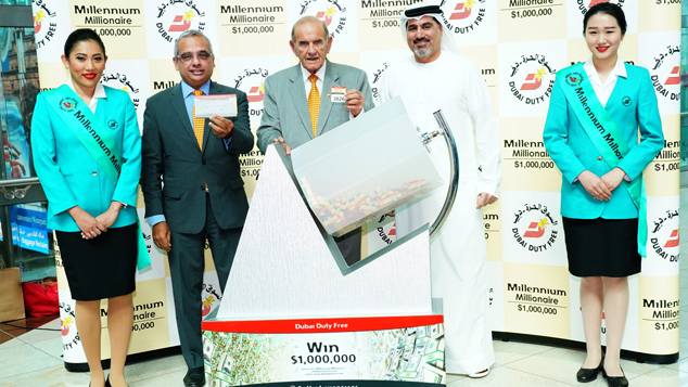 Dubai Duty Free Millionaire draw being conducted at Dubai International Airport.