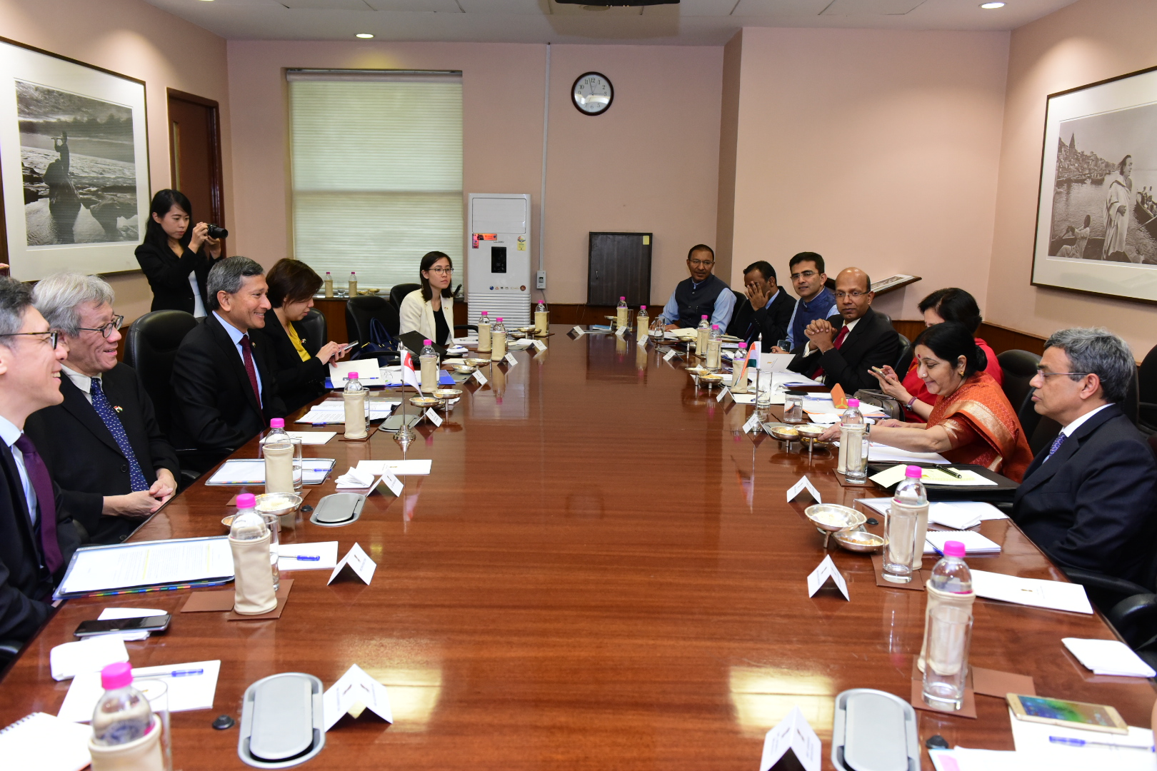 Delegations led by Singapore's Minister for Foreign Affairs Dr Vivian Balakrishnan ndian External Affairs Minister(EAM) Sushma Swaraj attend 5th Joint Ministerial Committee Meeting.