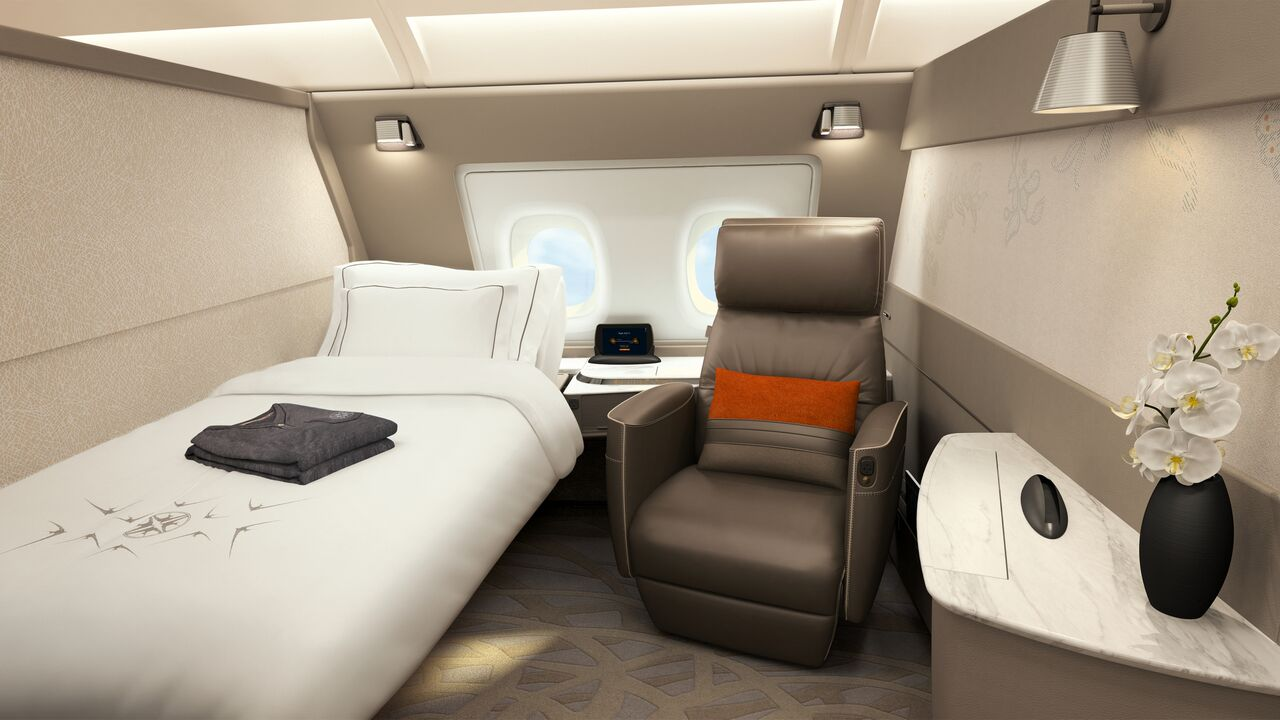 Each suite is furnished with a separate full-flat bed with adjustable recline and plush leather chair