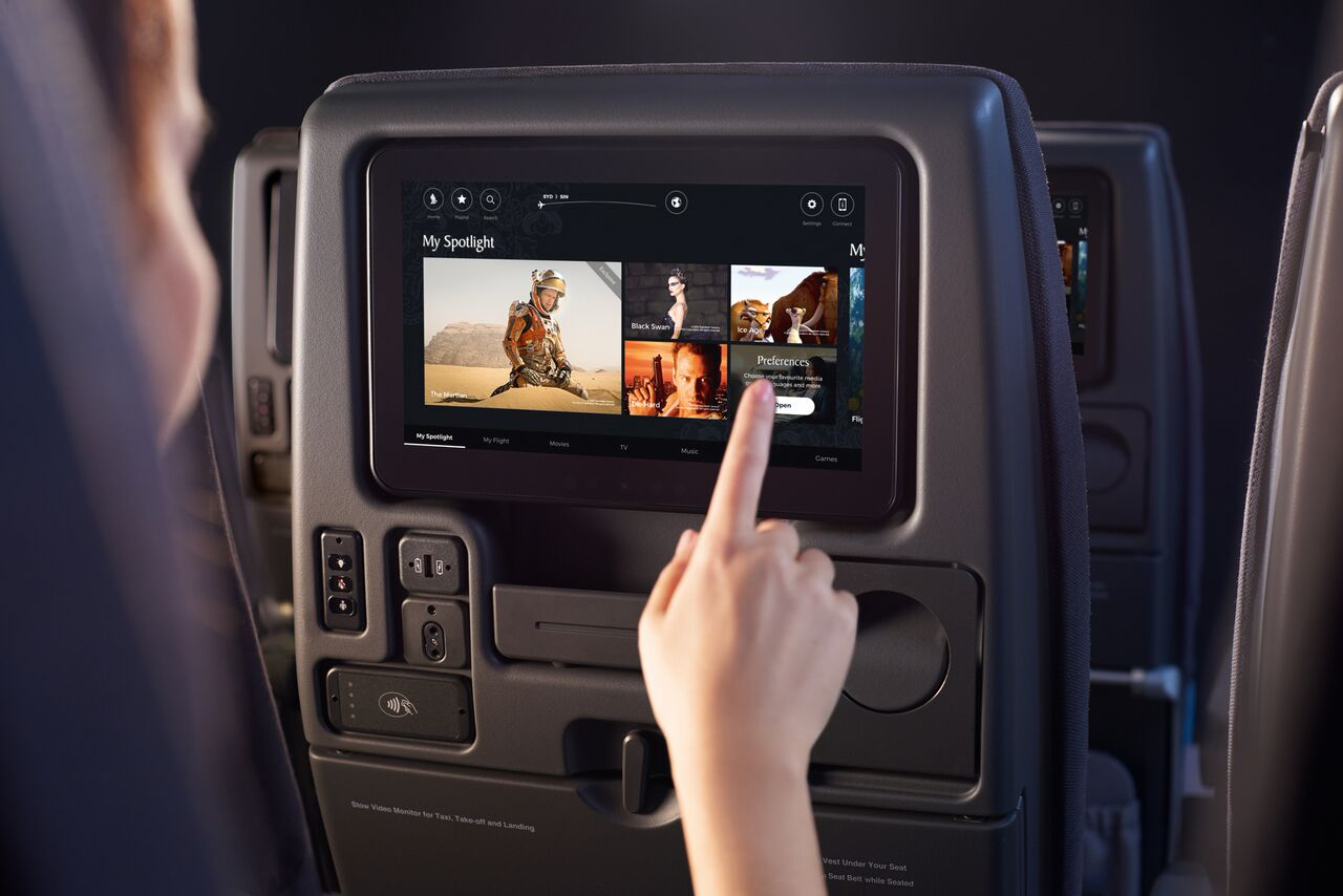 New economy class seats of SIA feature an 11-inch touchscreen monitor.