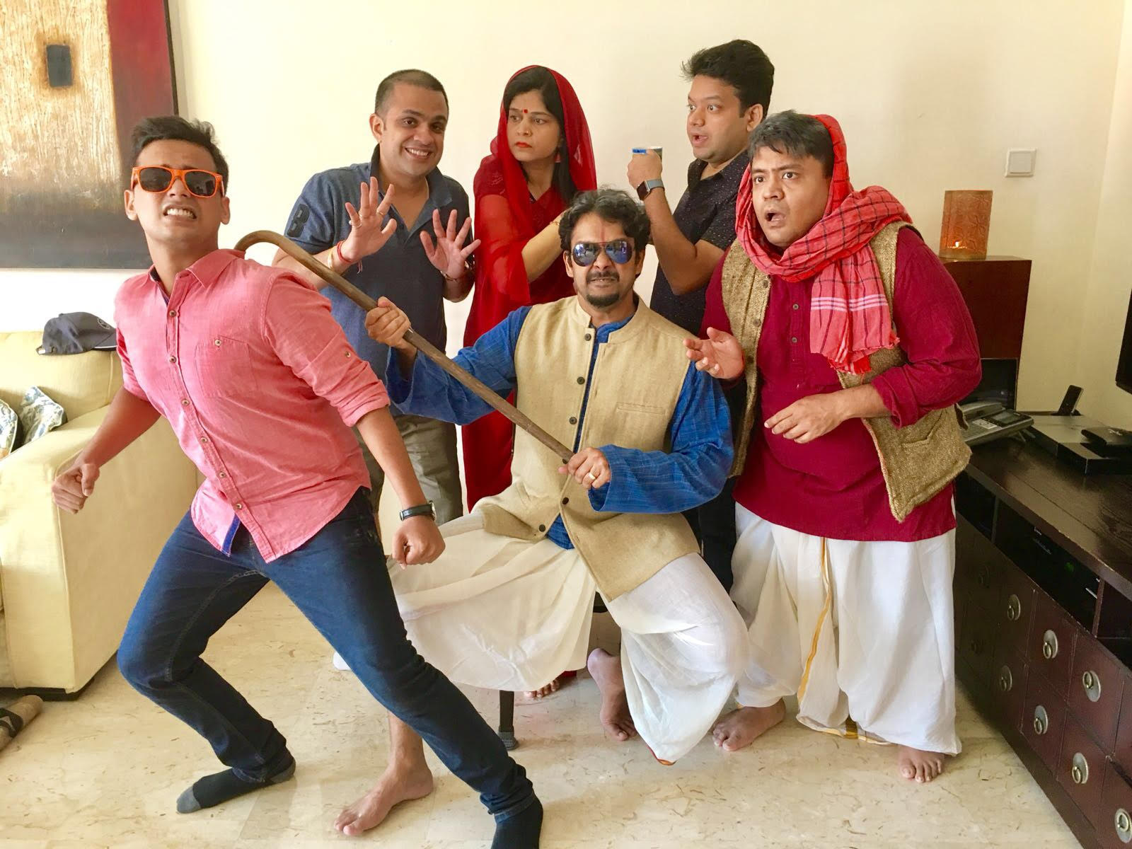 The cast and crew of Jhamela at a rehearsal.