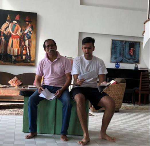 Actors Subin Subaiah and Rishi Budhrani during a rehearsal.