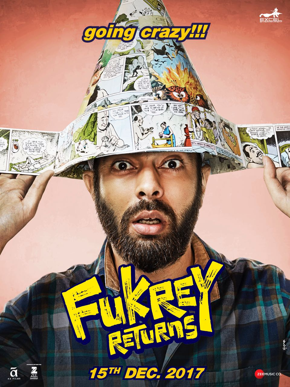 High dose of laughter comes with Fukrey Returns	 Fukrey gang of actors are back and this time they are all set to take us on a crazy laugh riot with its sequel Fukrey Returns. The makers of the upcoming comedy movie released the solo posters of Hunny (Pulkit Samrat), Choocha (Varun Sharma), Lali (Manjot Singh), Zafar (Ali Fazal) and Bholi Punjaban (Richa Chadda). Posters  The new posters give us the idea of the cast members' screen characters. Fukrey was one of the most surprising box-office hits of 2013.  Directed by Mrighdeep Singh, produced by Excel Entertainment and distributed by Zee Studios International, Fukrey Returns is slated to release on December 15th, 2017.