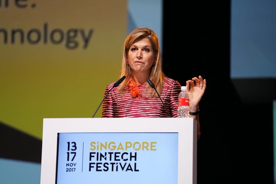 Queen Maxima of the Netherlands addressing delegates at the Singapore Fintech Festival conference.