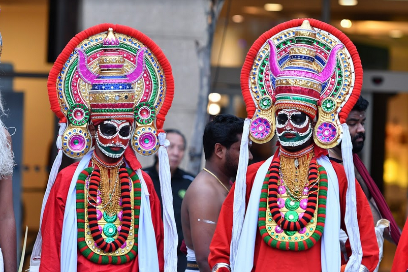 Mudi refers to the headgear of Kali, made of wood or metal. It depicts her terror inspiring face and wild hair. In a ritualistic setting, the mudi is donned by the actor playing the role of Kali at the temple. Photo: IndieStrings