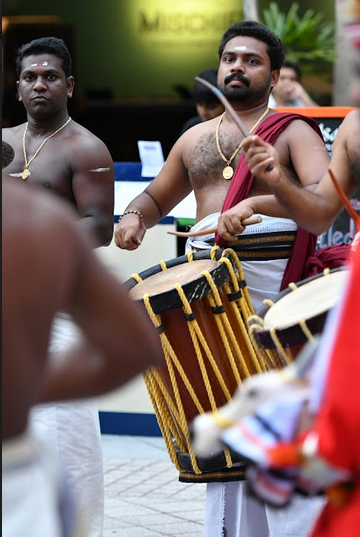 Instruments played during the ritual include veekku chenda (percussion and base), uruttuchenda (percussion), ilathaalam (cymbal) and the optional chengila (cymbal). Photo: Connected to India