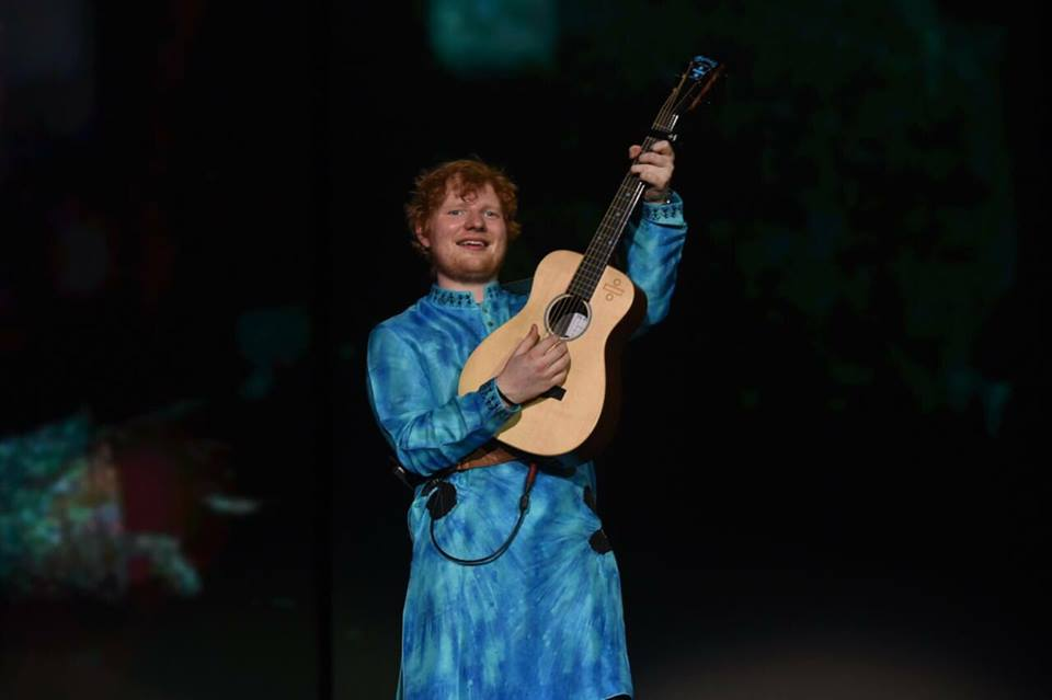 British singer-songwriter Ed Sheeran performing at Mumbai concert.