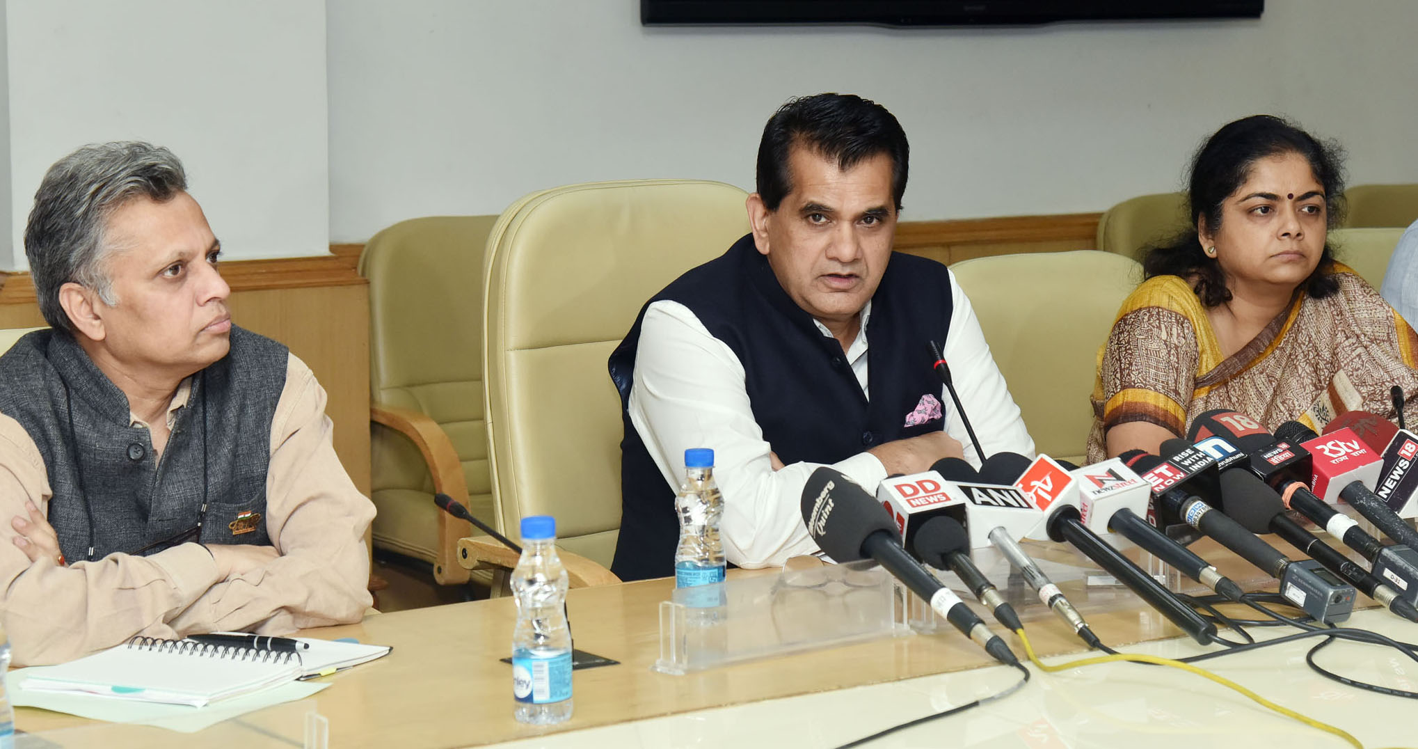 The CEO, NITI Aayog, Amitabh Kant addressing a press conference on the upcoming Global Entrepreneurship Summit-2017.