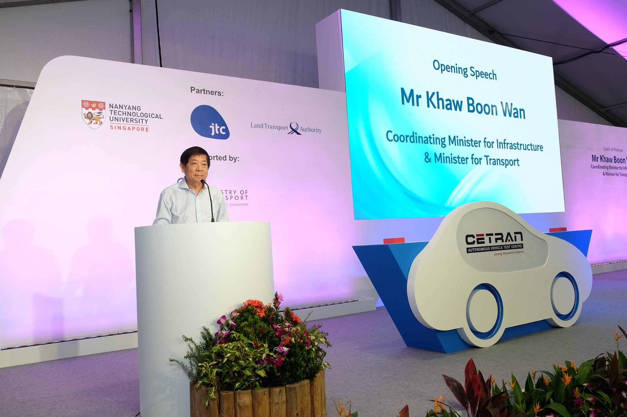 Khaw Boon Wan, Transport Minister speaking during the opening of Singapore's first AV Test Centre. Photo courtesy: Facebook/LTA