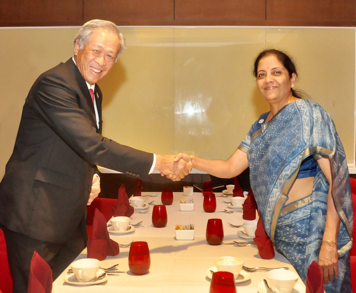 Indian Defence Minister Nirmala Sitharaman meeting with Singapore's Minister of Defence Ng Eng Hen.