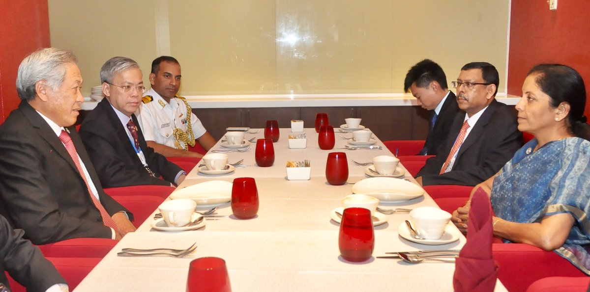 Defence Ministers of India Nirmala Sitharaman (right) and Singapore Ng Eng Hen during their interaction.