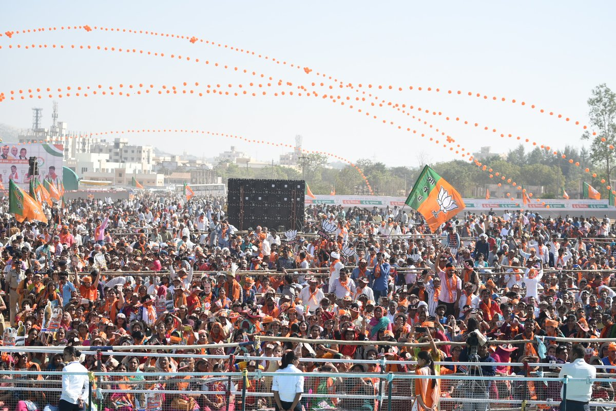A BJP campaign rally in Gujarat for Indian PM narendra Modi.