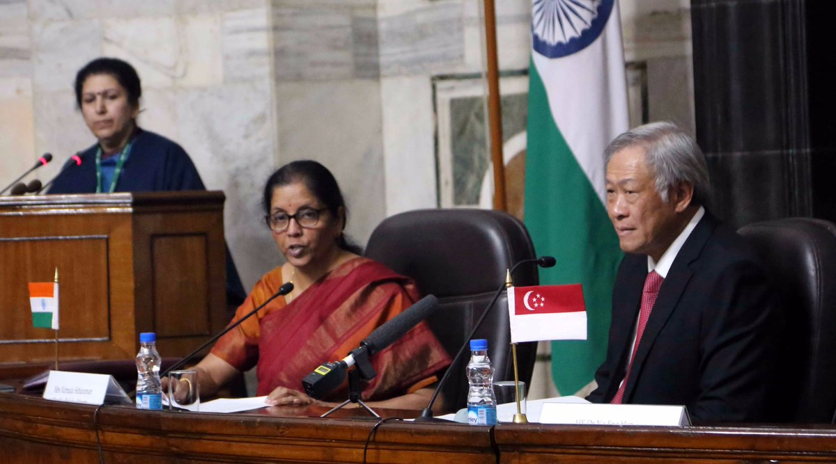 Indian Minister for Defence Nirmala Sitharaman making a press statement after bilateral talks with Def Min of Singapore Dr Ng Eng Hen(right) at South Block on 29 Nov 2017. Also seen are senior military and civilian officials of both the countries. (Photo courtsey: Ministry of Defence)