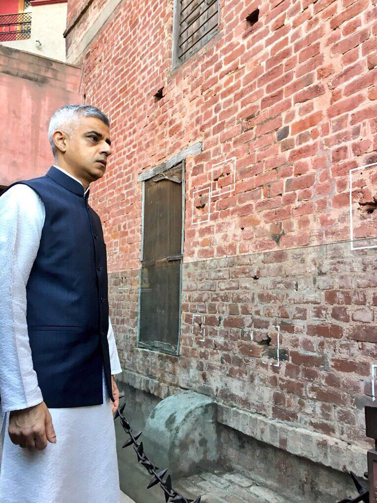 London Mayor Sadiq Khan paying his respects to the victims at the site of the Jallianwala Bagh massacre in Amritsar.