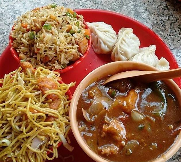 The state's thali is a mix of steamed and fried goodness including dishes such as Dal bhat (boiled rice and lentil soup), Thukpa - the noodle based soup , momos, Phagshapa etc