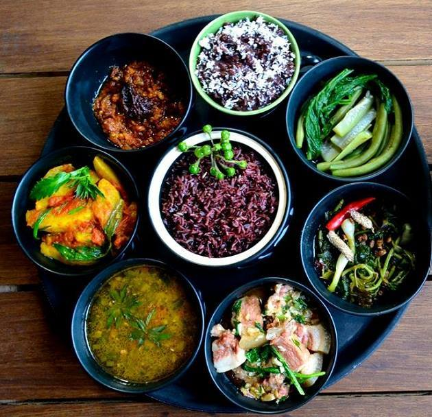The Naga thali brims with vegetables, chillies and variety of meat and fish, which are often smoked, dried or fermented