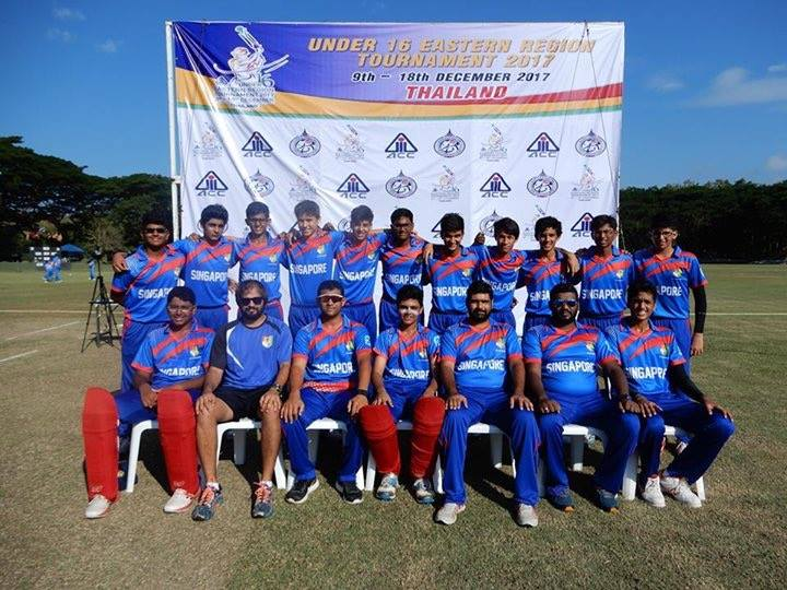 The victorious Singapore team which defeated Malaysia by 29 runs in the opening match of Asian Cricket Council Under-16 Eastern Region tournament being organised in Thailand.
