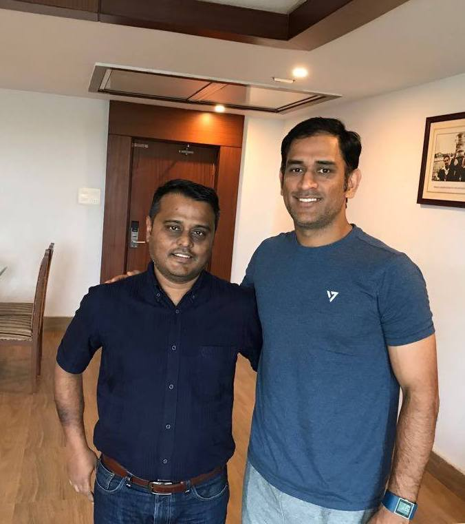 MS Dhoni (right) with Academia 7 CEO Josh Ghosh.
