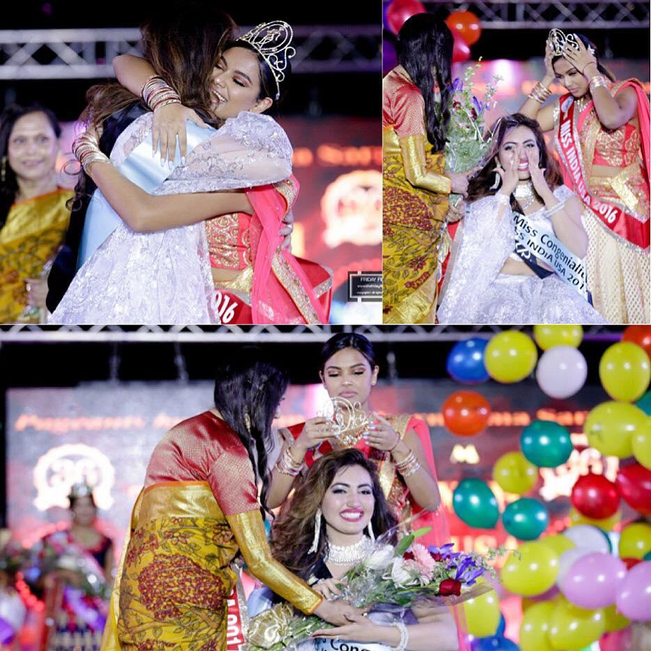 Shree Saini while receiving the Miss India USA 2017 crown.