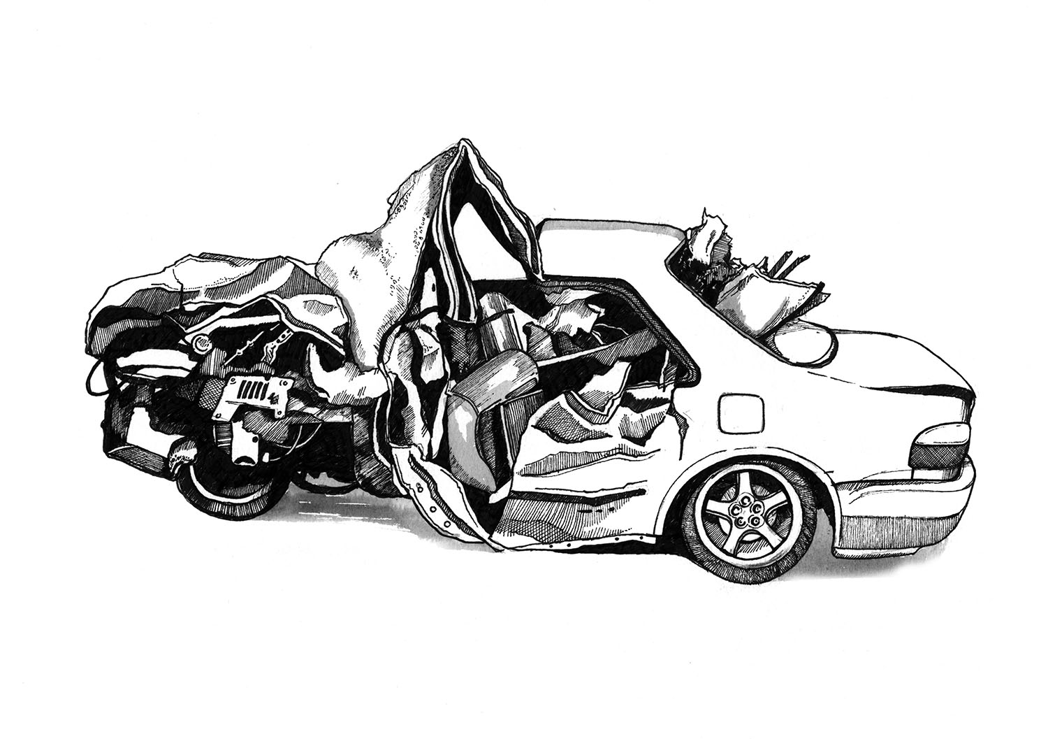 An Indian man suffered multiple injuries when a pick-up truck rammed into his car in UAE.