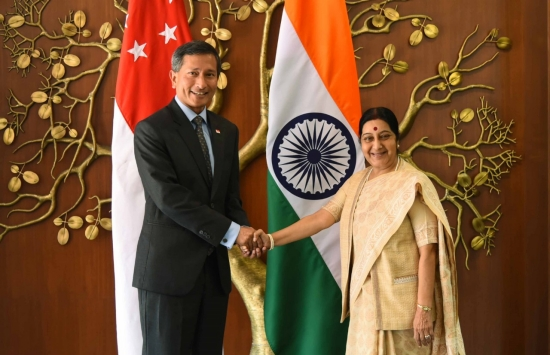 Vivian Balakrishnan, Minister for Foreign Affairs (left) with Sushma Swaraj, Minister of External Affairs of India.