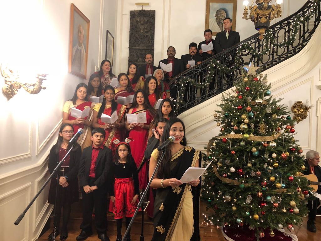 Choir Singing Christmas Carols at the Indian Embassy during Christmas celebrations.
