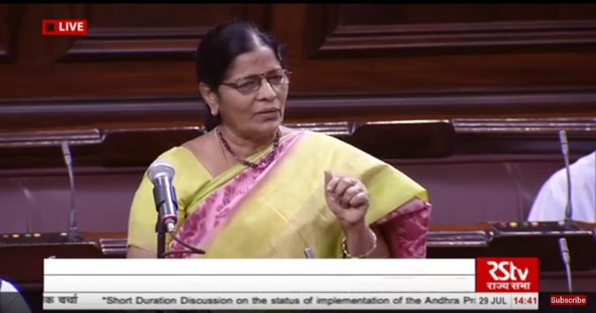 Thota Seetharama Lakshmi, a Telugu Desam Party MP from Andhra Pradesh (Photo courtesy: Rajya Sabha TV)