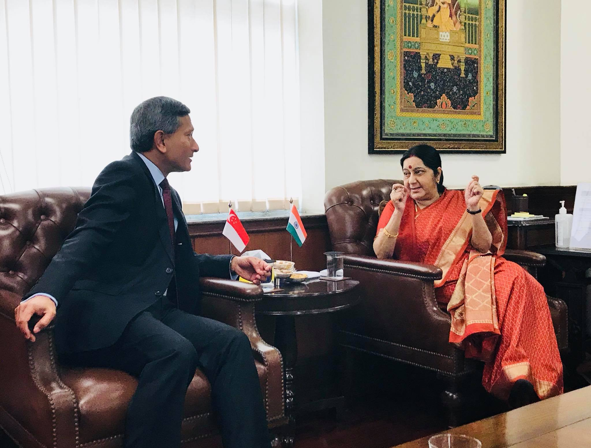 Singapore Minister for Foreign Affairs Dr Vivian Balakrishnan (left) with Indian External Affairs Minister Sushma Swaraj in New Delhi. The EAM will share with her interlocutors relevant information about the forthcoming ASEAN-India Commemorative Summit during her upcoming visit.