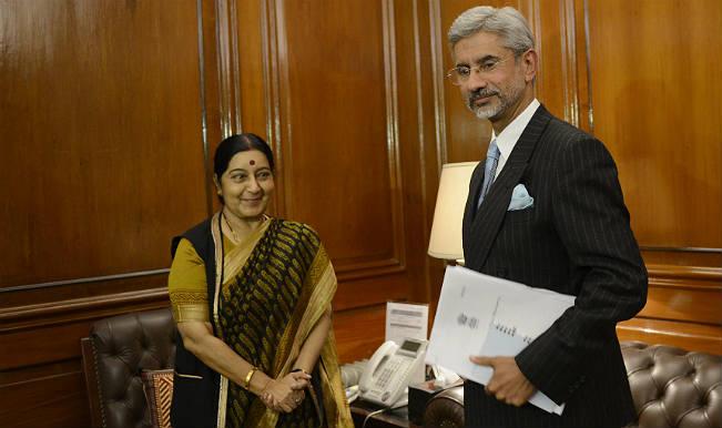 Indian External Affairs Minister Sushma Swaraj  along with Indian Foreign Secretary S Jaishankar.