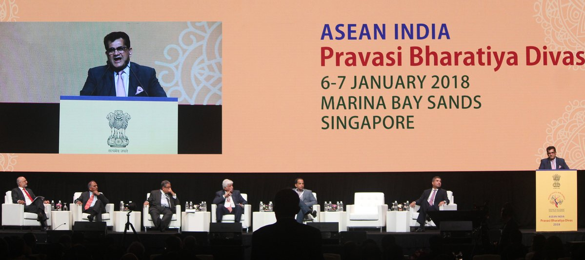 Amitabh Kant, Chief Executive Officer of National Institute for Transforming India (Niti Ayog)speaking at the Pravasi Bharatiya Divas in Singapore. Photo courtesy: Twitter@IndiainSingapor