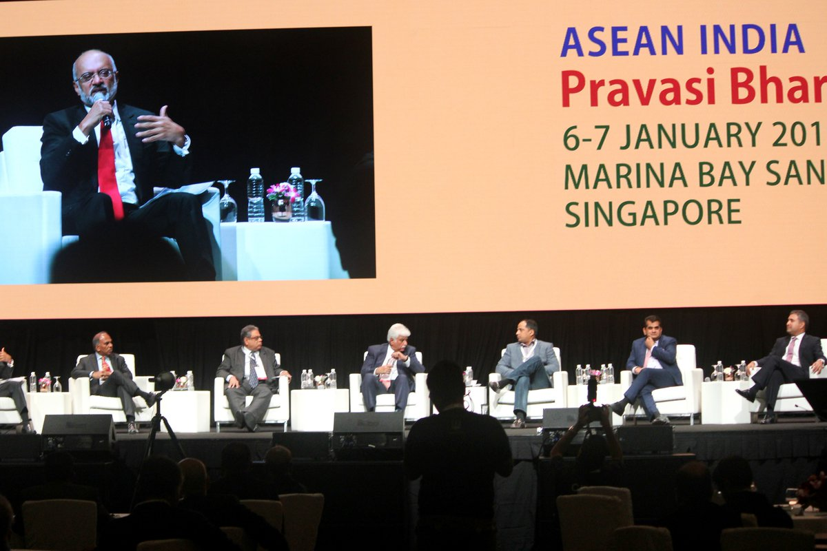 Piyush Gupta, Chief Executive Officer and Director, DBS Group, Singapore moderateing the discussion at Pravasi Bharatiya Divas in Singapore.
